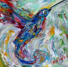 Happy Hummingbird painting Original oil abstract palette knife