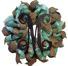 Vine Monogram Mesh Door Wreath - LOTS OF COLORS!!