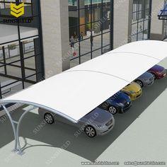 Car park shades - Aluminum Carport with PVDF Roof - Consecutive Connection Carport - Tensile Parking Shed Carport Shade, Carport Canopy, Garage Plans, Shed Plans, Garages, Cantilever Carport, Car Porch Design, Aluminum Carport, Car Shed