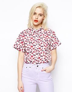 ASOS Boxy Shirt in Lip Print