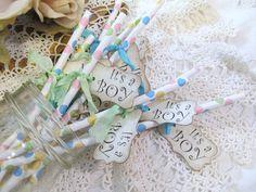 Baby Boy Shower Paper Carnival Stripe Straws by auntiesjammies, $21.00
