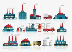 Factory icons Illustration
