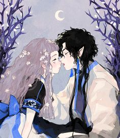 Anime, art, and couple image Art And Illustration, Character Illustration, Fantasy Kunst, Fantasy Art, Pretty Art, Cute Art, Character Art, Character Design Inspiration, Ange Demon