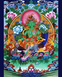 Green_Tara- Tara is a tantric meditation deity whose practice is used by practitioners of the Tibetan branch of Vajrayana Buddhism to develop certain inner qualities and understand outer, inner and secret teachings about compassion and emptiness. Tibetan Buddhism, Buddhist Art, Tara Verte, Thread Painting, Colorful Garden, Sacred Art, Art Drawings, Green, Artwork