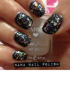 matte black nails with glitter!
