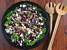 Beet and Feta Salad with Balsamic vinegar is packed with flavor and works so good aside any holiday meal. Beet and Feta Salad Beet Recipes Healthy, Beet Salad Recipes, Healthy Salads, Healthy Eats, Healthy Foods, Bakery Recipes, Cooking Recipes, Baked Beet Chips, Best Veggie Burger