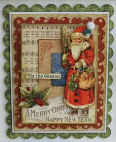 Graphic 45 Christmas Emporium framed art close up Christmas Paper Crafts, Christmas Cards To Make, Vintage Christmas Cards, Christmas Tag, Xmas Cards, Christmas Greetings, Vintage Cards, Handmade Christmas, Holiday Cards