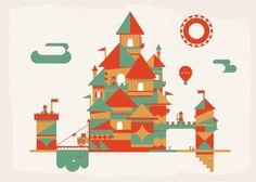 Mid-Century Flat Vector Castle Illustration - Dangerdom Studios