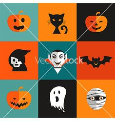 Halloween cute set of icons vector jack o lantern ghost by ma_rish on VectorStock®