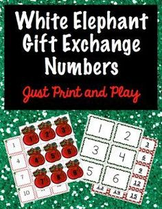 Use these decorative numbers to have a White Elephant Gift Exchange or Christmas Gift Exchange at your next holiday party. There are four patterns with numbers 1 - 100. Each pattern has a blank page just in case you need more numbers. You may also use the