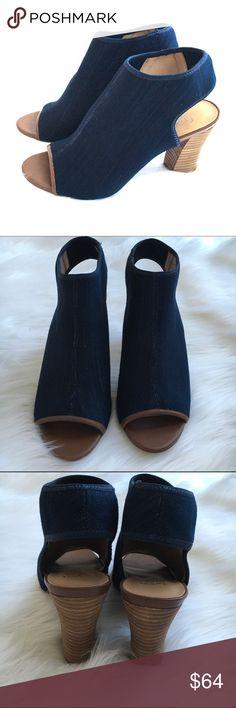Denim Peep Toe shoes.  NWOT Dark denim with brown wooden heels. Franco Sarto Shoes Heels