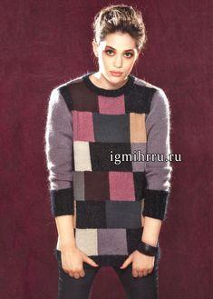 Нестареющая клетка! Теплый разноцветный пуловер из мериносовой шерсти и мохера, от французских дизайнеров. Вязание спицами