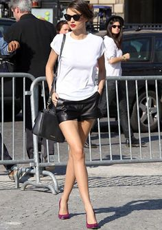 The lips. The shoes. The leather shorts. The laid back tee... YES.