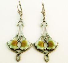 Art nouveau sterling silver and enamel drop earrings