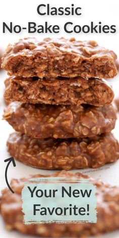 These classic no-bake cookies only require a few simple ingredients and are incredibly easy to make. These decadent cookies are loaded with peanut butter, oats, and cocoa powder. These cookies are perfect for an easy dessert! Baking these classic no-bake cookies is a tradition everyone will enjoy. #cookies #nobake #easyrecipe #dessertideas Easy No Bake Desserts, Homemade Desserts, Delicious Desserts, No Bake Cookies, Yummy Cookies, Oatmeal Cookies, Baking Recipes, Cookie Recipes, Baking Ideas