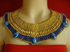 Egyptian Queen Beaded Cleopatra Collar Necklace Gold Royal Blue 1 Seller | eBay   $12.99