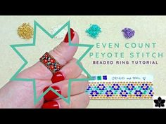 Jewelry Making Tutorials Even Count Peyote Stitch Floral Vine Ring Jewelry Making Tutorials, Beading Tutorials, Beading Patterns, Beaded Rings, Beaded Jewelry, Diy Jewelry, Gold Jewelry, Beaded Boxes, Colors