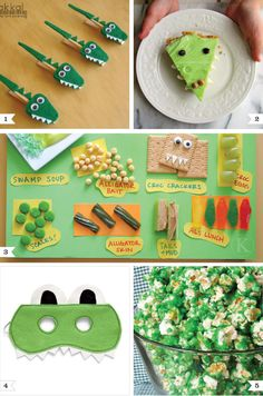 """Alligator Party Ideas - Great for Ocean and Water Themed Parties- add a Mouth Man shirt for the """"Gator"""" of the hour--and one for a giveaway! www.mouthman.com"""