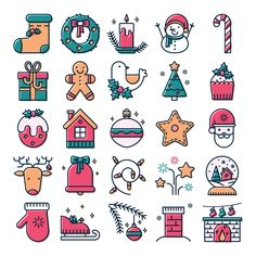Christmas icon set on Behance Christmas Icons, Christmas Doodles, Christmas Drawing, Christmas Art, Flat Design Icons, Icon Design, Flat Icons, Web Design, Cute Easy Drawings