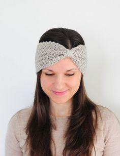 Beige Headband Knitted Ear Warmer Knitted Headband by SOVAknits