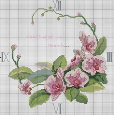 """Photo from album """"часы,вышивание"""" on Yandex. Cross Stitch Letters, Just Cross Stitch, Cross Stitch Flowers, Cross Stitch Charts, Cross Stitch Designs, Cross Stitching, Cross Stitch Embroidery, Embroidery Patterns, Hand Embroidery"""