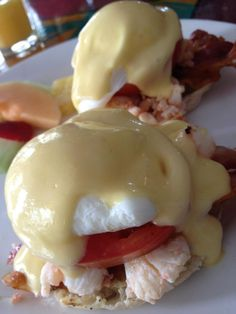 Lobster and Bacon Eggs Benedict from Blue Heaven, Key West, FL
