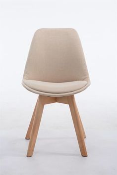 Clp Retro design bezoekersstoel BORNEO V2 eetkamerstoel- kuipstoel met houten onderstel, stof - crème, kleur onderstel : natura