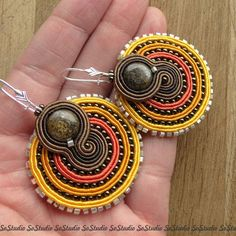 Soutache /citrus and brown Soutache Necklace, Beaded Earrings, Beaded Jewelry, Biscuit, Dyi Crafts, Polymer Clay Charms, Bohemian Jewelry, Beaded Embroidery, Handmade Necklaces