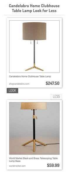 Candelabra Home Clubhouse Table Lamp vs World Market Black and Brass Telescoping Table Lamp Base