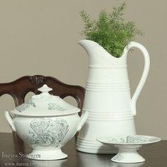 Antique Decor and Accessories | Antique China and Ceramics | White Porcelain Pitcher, Antique English Transferware  | www.inessa.com