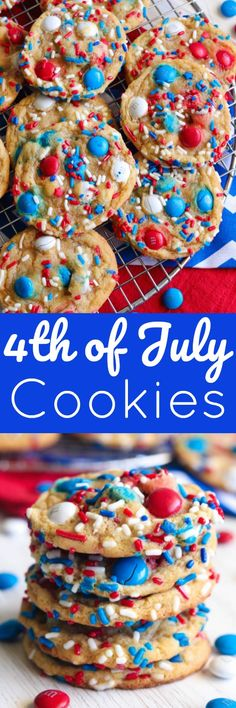 4th of July Cookies - Rich and buttery cookies that are soft and chewy and loaded with red, white and blue goodies.