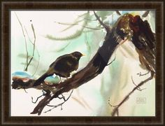 """Winter Bird"" by Ann Miller, shown in our Belmont Medium Olive frame in the medium size.  Let your creativity soar with more stunning framed prints at www.imagekind.com!"