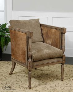 From designer Matthew Williams this solid mango frame is honey stained and double caning with taupe fabric seat and back, beautiful!!
