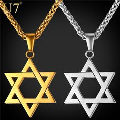 Star of David Pendant - Unisex - 4.5cm length - 4 color available