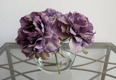 Light Purple Peonies in Round Glass Vase by ChicagoSilkFlorist #Purplepeonies #purpleflowers