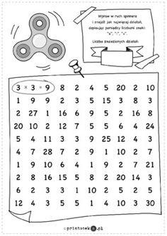 Zakręcone mnożenie i dzielenie - Printoteka.pl Math For Kids, Word Search, Words, Puzzles, Origami, English, Number, Games, Writing