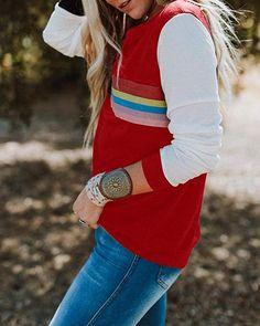 10fedcf7ba70d Street Style Womens Crewneck Striped T Shirt Casual Long Sleeve Color Block  Canvas Tunic Tops