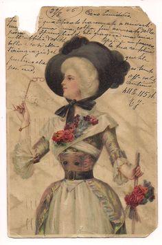 Fashionable Victorian Lady opera glasses handwritten message ...