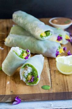 Vegetable Spring Rolls with Hoisin Sauce (dairy free, gluten free and PALEO!) delicious appetizer and great to bring to parties! Lunch Recipes, Paleo Recipes, Real Food Recipes, Cooking Recipes, Paleo Meals, Paleo Food, Free Recipes, Yummy Food, Vegetarian Food