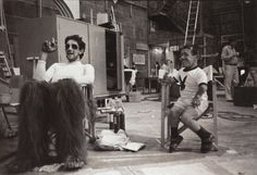 Peter Mayhew (Chewy) & Kenny Baker (R2D2), during Empire filming, July 1979.