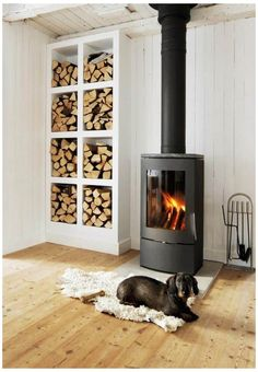 Wood Stove Surround, Wood Stove Hearth, Wood Burner Fireplace, Build A Fireplace, Fireplace Design, Fireplace Ideas, Wood Burner Stove, Wood Burning Stove Corner, Modern Wood Burning Stoves