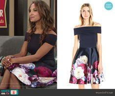 Lily's floral off-shoulder dress on The Young and the Restless.  Outfit Details: https://wornontv.net/71376/ #TheYoungandtheRestless