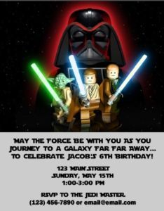 Cute party invitation for Lego Star Wars