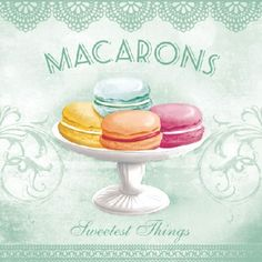 Macarons v zelenom Paper Napkins For Decoupage, Decoupage Vintage, Macarons Rosa, Printable Lables, Printables, Laduree Paris, Watercolor Cake, Food Wallpaper, Drop Cookies