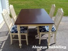 Refinished Two toned Table with glazed chairs