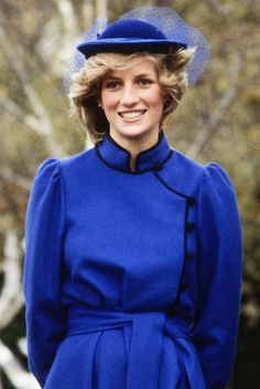 Blue Belle The princess streamlined her cobalt outfit with a coordinating fascinator for an April 1983 photocall at Wanganui Collegiate in New Zealand.