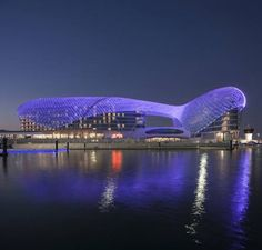 Yas Viceroy Abu Dhabi Abu Dhabi Yas Viceroy Abu Dhabi features a unique design, set half on land and half on water.  It offers 11 dining and lounge venues, modern rooms with mood lighting and free internet. It directly overlooks the Formula 1 circuit.