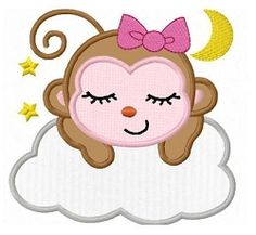 Sleeping Monkey Girl Applique - 3 Sizes! | What's New | Machine Embroidery Designs | SWAKembroidery.com Fun Stitch
