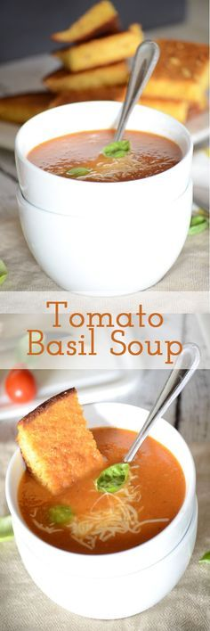 You have to try this easy tomato basil soup recipe! It is so easy to toss together and perfect for a weeknight meal!  Can be done in under 30 minutes