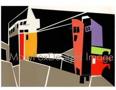CITYSCAPE  Fine Art Print Abstract Collage Landscape Red Orange Yellow Flamingo Pink Lavender Chartreuse Black Crisp Design FREE US Shipping